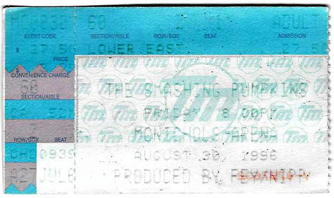 Smashing Pumpkins Ticketstub from the Friday, August 30th Chapter