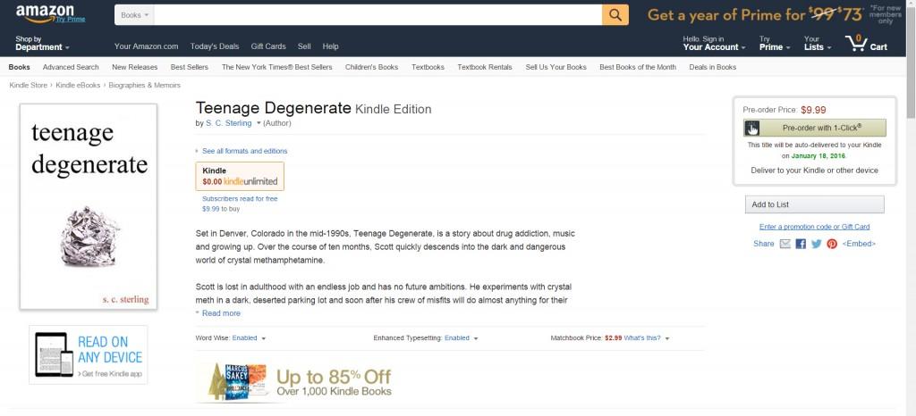 Purchase Teenage Degenerate on Amazon!