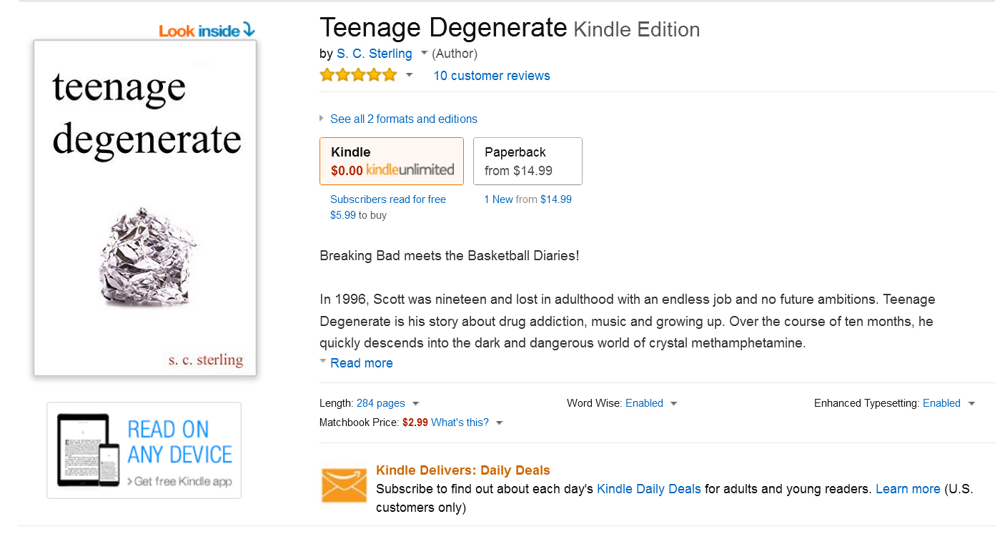 Teenage Degenerate now Available on Amazon Kindle - Press Release