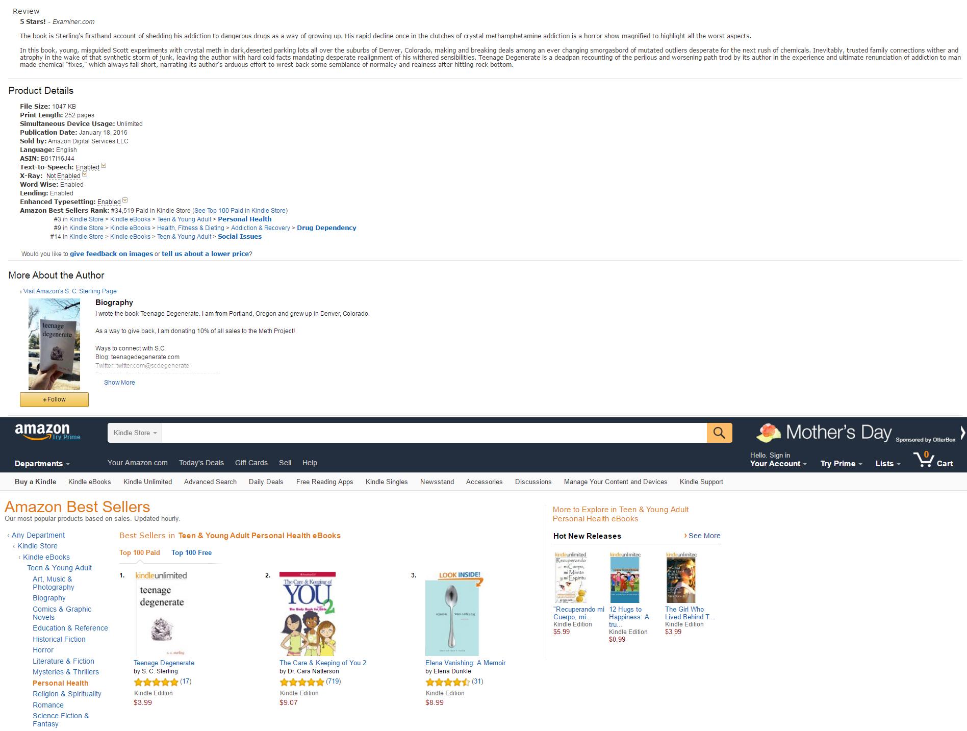 Teenage Degenerate broke into the top 35,000 books on Amazon!