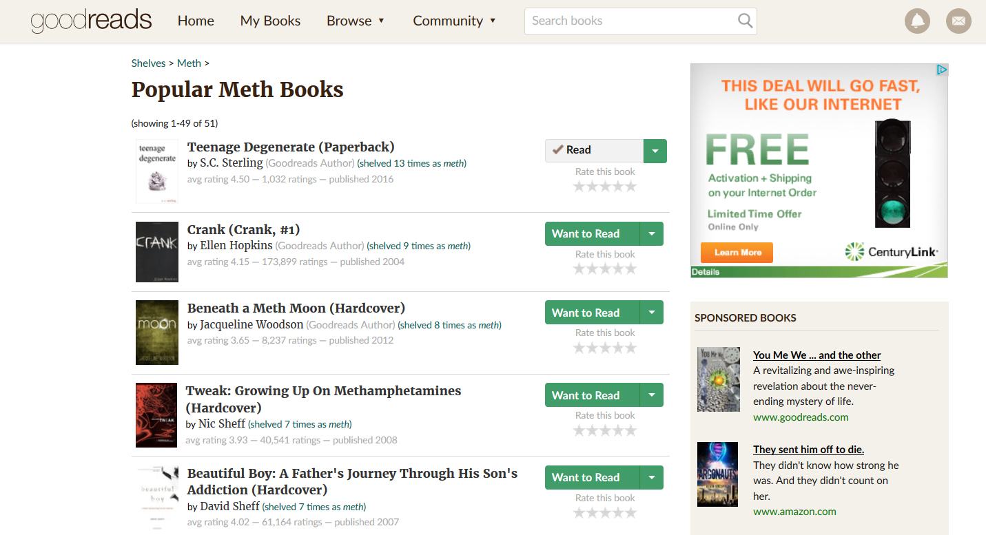 Top Rated Book about Meth on GoodReads.com