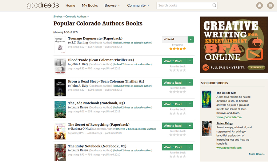 Top Rated Colorado Author on Goodreads.com