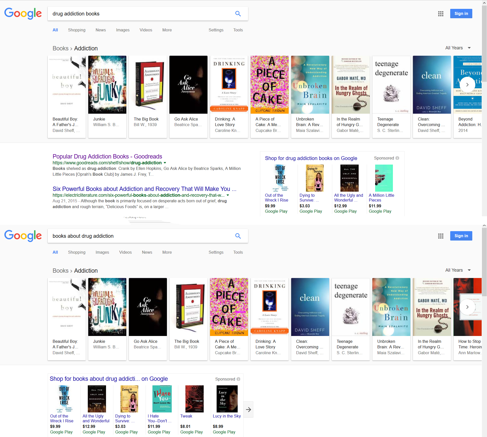 Teenage Degenerate is in the Google books search results for drug addiction books and books about drug addiction.