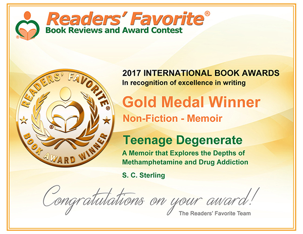 Readers Favorite recognizes Teenage Degenerate in its 2017 International Book Award Contest