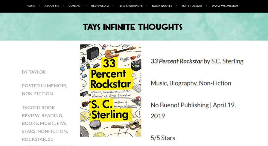 Tays Infinite Thoughts Review of 33 Percent Rockstar